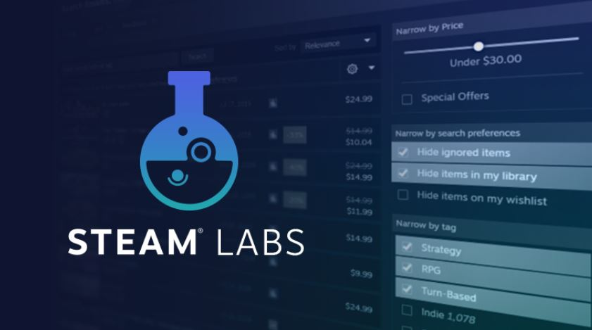 Valve 最近推出的 Labs 就是實驗這種問題的解決辦法,在搜尋引擎與推薦演算法下手。(圖源:Steam)