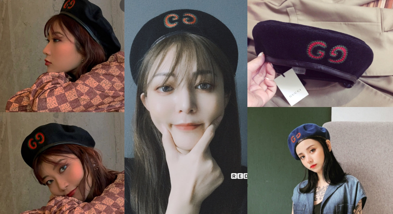 Gucci Wool Beret With GG Patch 刺繡貝蕾帽