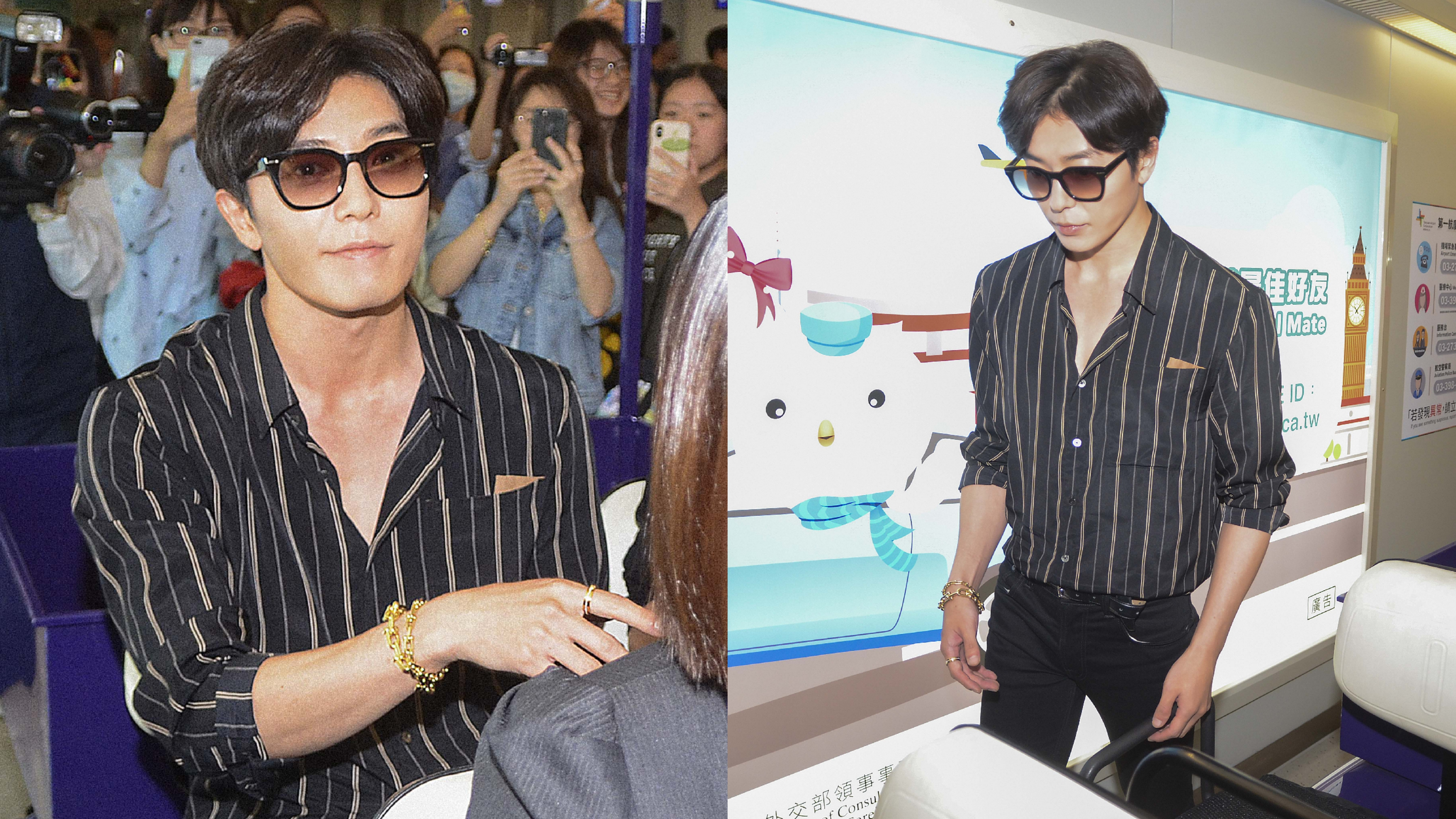 以瀟灑率性的黑色條紋襯衫搭配 Tiffany HardWear 鏈結設計18K金項鍊及指間的 Tiffany T Two 18K金鑲鑽戒指帥氣點綴迷人的男神魅力。
