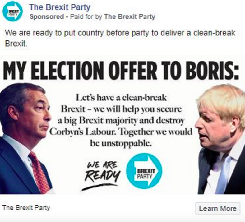 The Brexit Party have vowed to help the Tories win an election