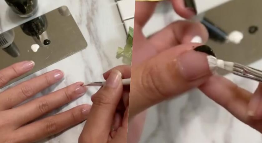 用畫筆沾取指甲油依個人喜好塗上,滿推薦大家可以上交叉的雙色法式