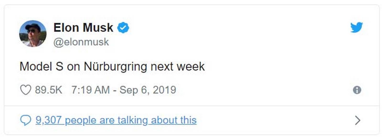 圖/日前Elon Musk在Twitter發出一則貼文,寫著:「Tesla Model S將在下周於紐柏林賽道登場。」立刻吸引各界人士留言,其中還包括前F1世界冠軍Nico Rosberg。