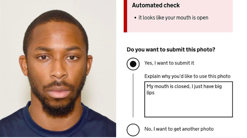 Joshua Bada used a high quality photo booth image to apply for his passport, with a digital code that he had to note down and enter on gov.uk. (PA)