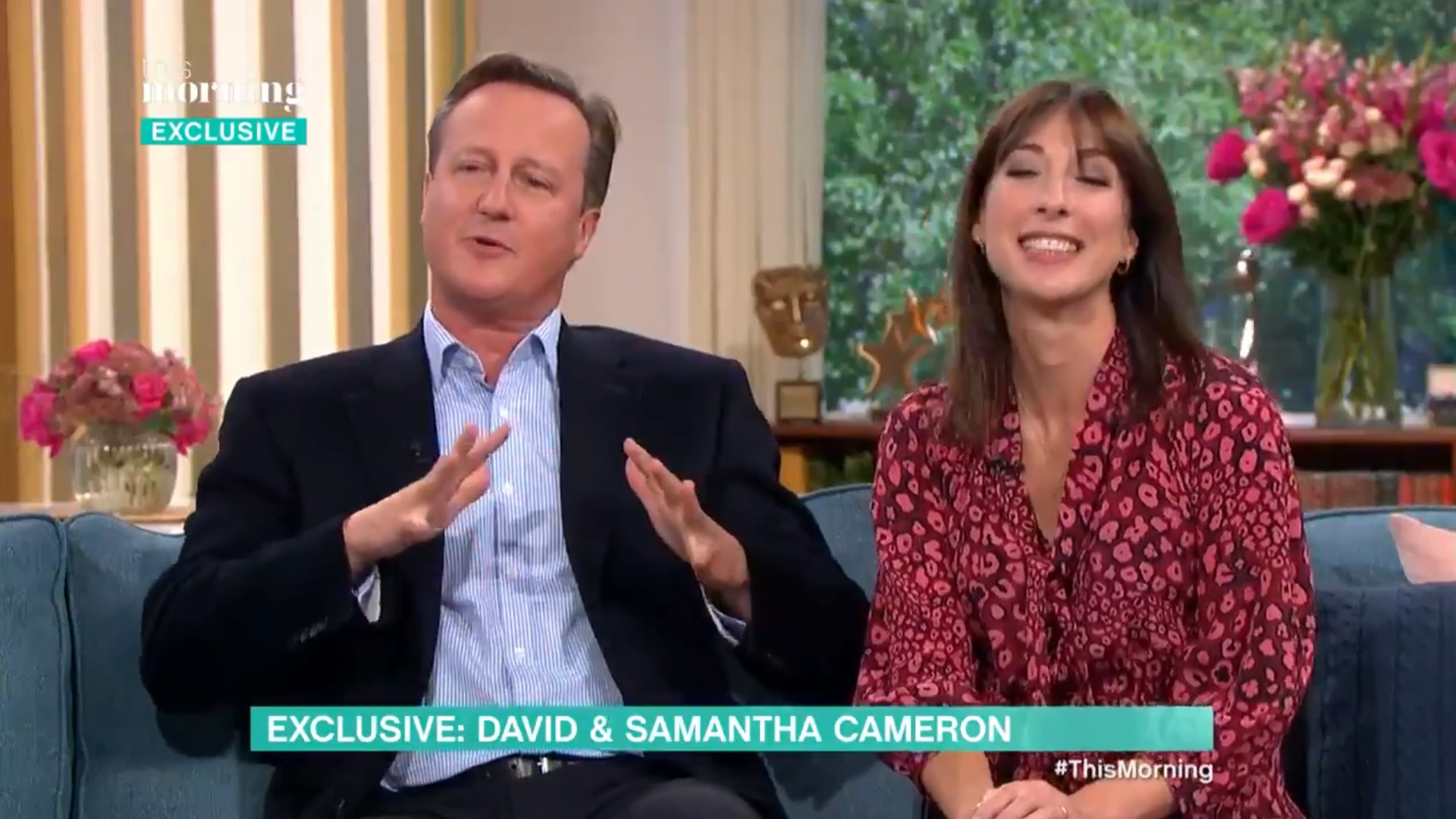 Former PM David Cameron made an accidental poo joke while appearing on 'This Morning' with his wife, Samantha (ITV)