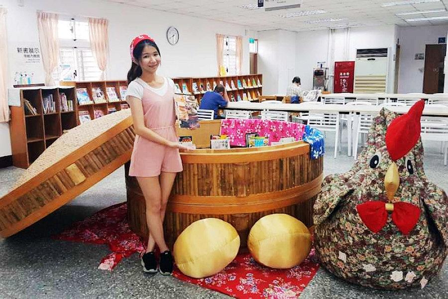 三重東區分館擺放直徑2.5公尺巨型蒸籠「書香宴」(圖片來源:新北市立圖書館)