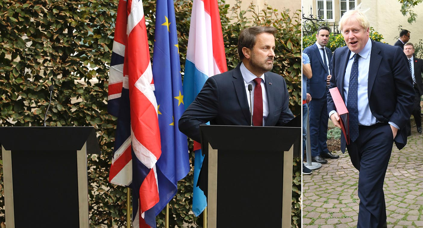 Boris Johnson was accused of 'bottling' a Brexit press conference today after not appearing at a joint statement with Luxembourg's prime minister due to noisy protests.