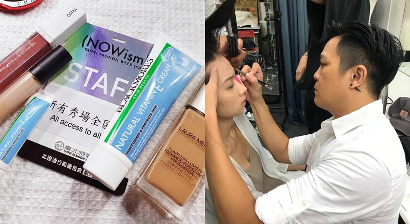 擔任總彩妝師的Azzurro老師,認為維生素E潤唇膏夠滋潤卻不影響上色,非常適合緊湊的後台使用。