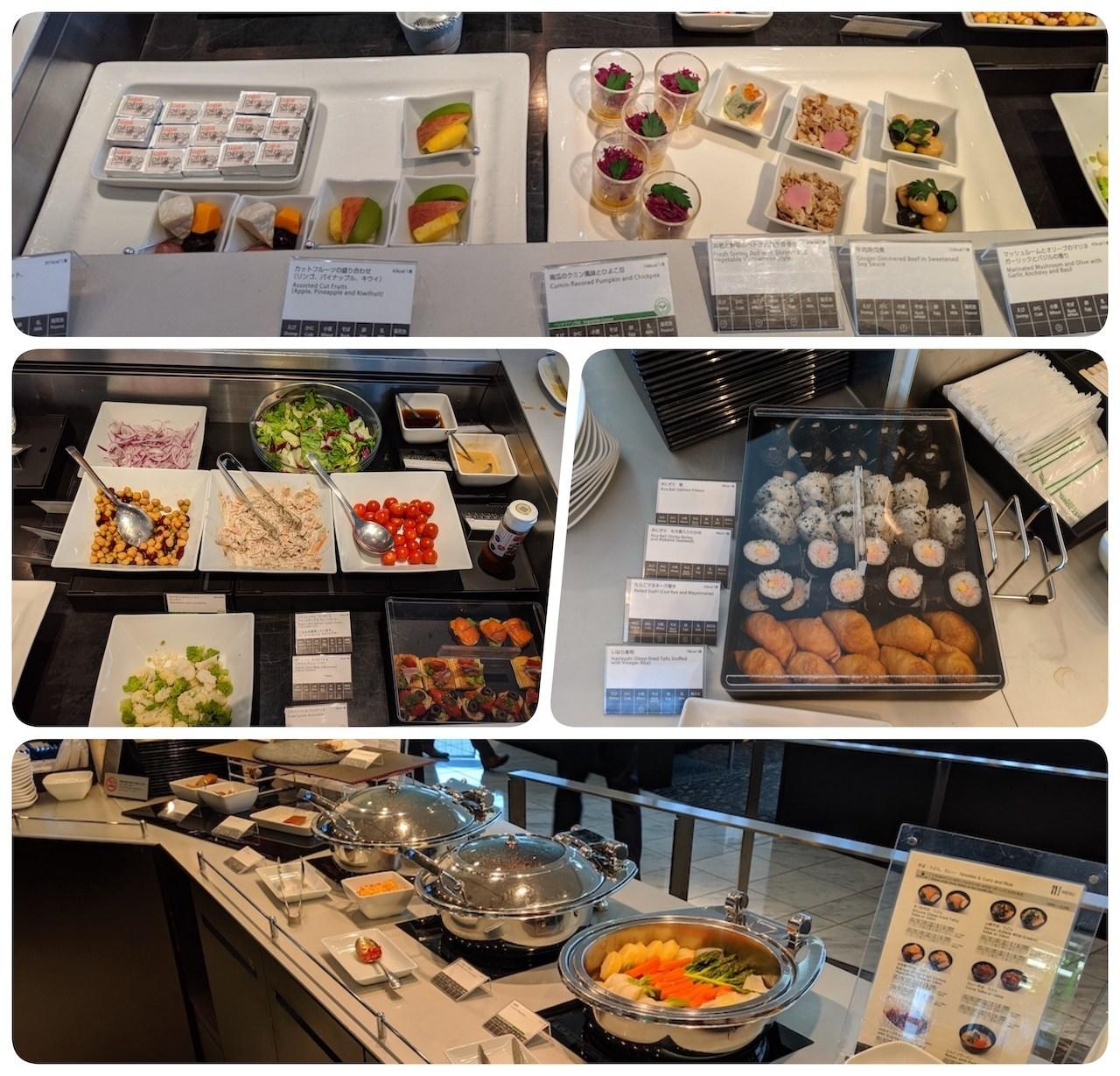 我們最後被直接坐到了用餐區。整個貴賓室有如圖片所示的自助區,必須說真的都不太有特色。尤其是壽司,真的是有辱日本當地的水準,覺得不Ok