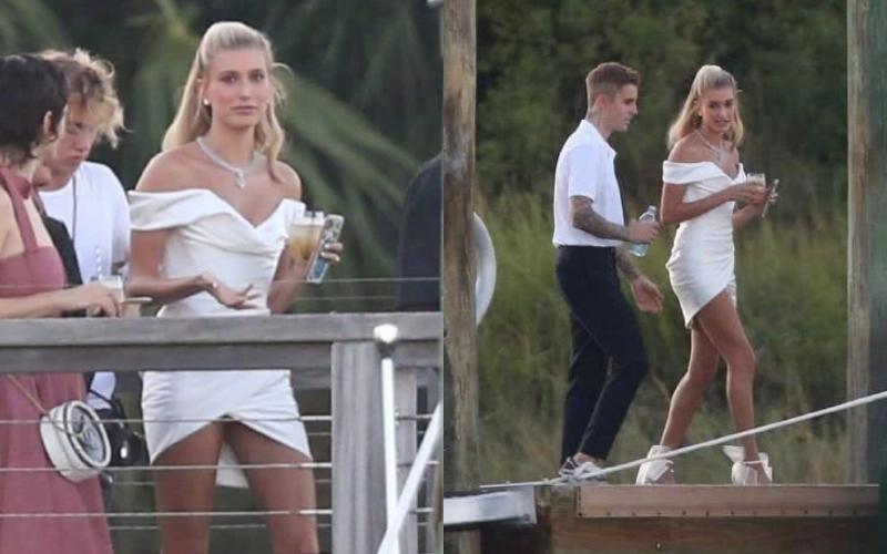 海莉在婚禮預演時穿著的是來自Vivienne Westwood的小禮服。(截自微博)