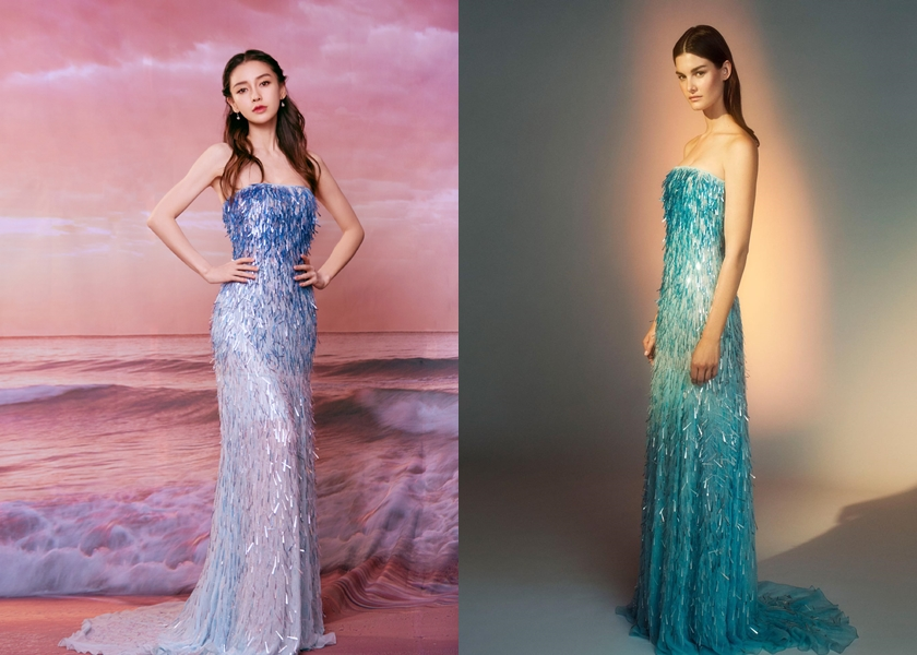 Angelababy 這身超美的漸層禮服是 Alberta Ferretti 2019秋冬高級訂製服。