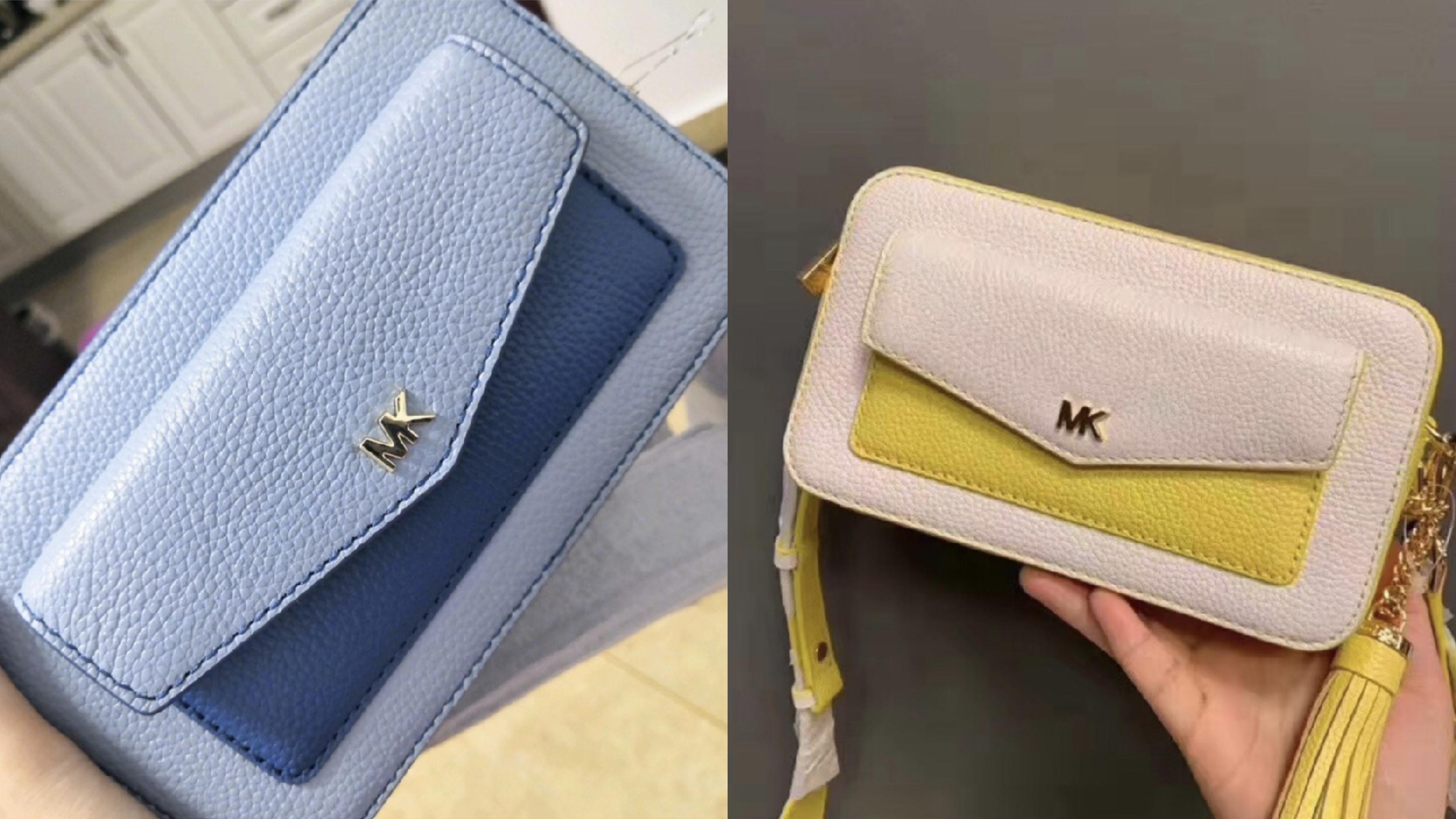 經典金屬MK LOGO造型加上雙色拼接牛皮,搭配帆布內襯,可斜背也可拆背帶當手拿,是近年最夯的小包