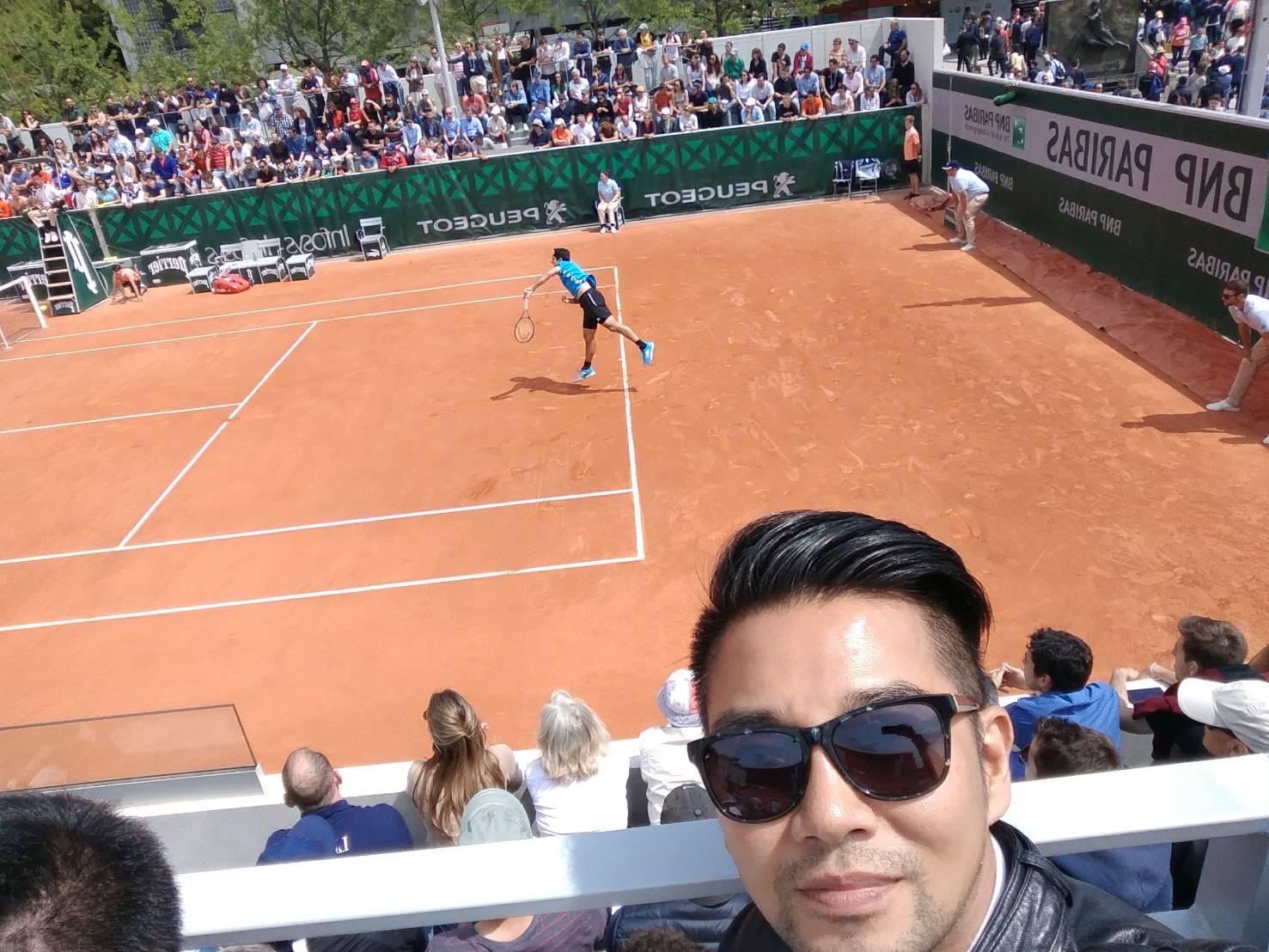 ▲謝承均一圓網球四大公開賽,其中的法網公開賽的夢想之旅。