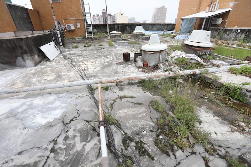 ▲買頂樓戶記得要上頂樓查看屋頂狀況,若雜草叢生或有積水問題,就是排水系統失靈。