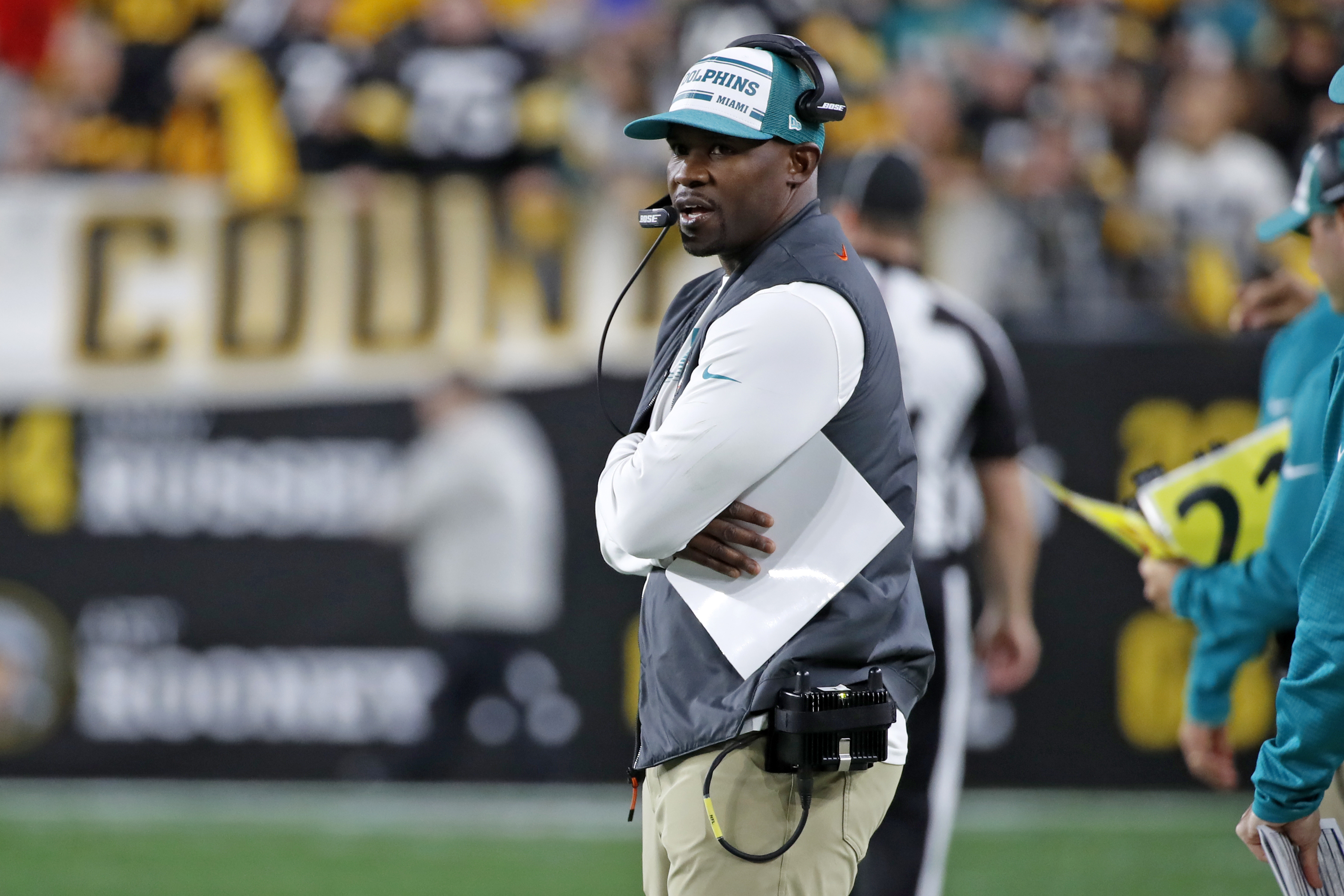 Miami Dolphins head coach Brian Flores stands on the sideline during the second half of an NFL football game against the Pittsburgh Steelers in Pittsburgh, Monday, Oct. 28, 2019. (AP Photo/Don Wright)