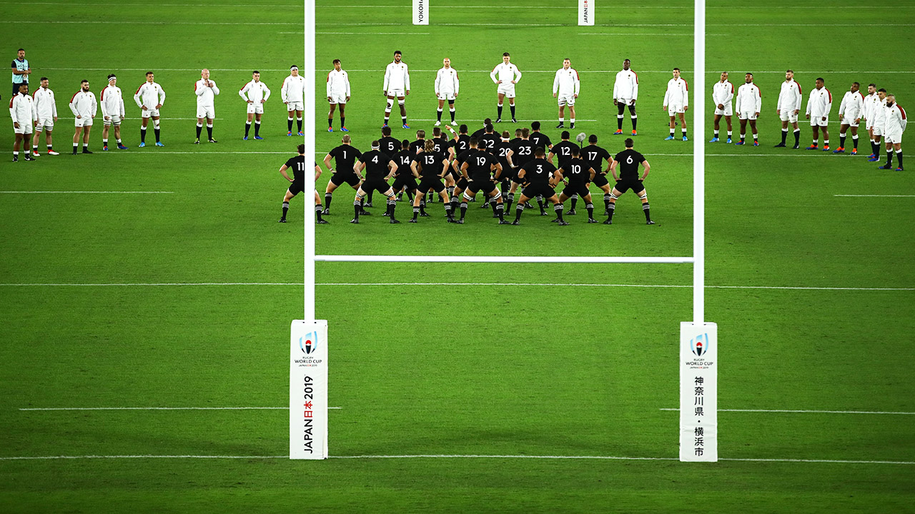 England players, pictured here forming a V formation during the haka.