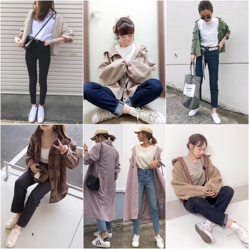 女孩衣櫃一定都有的丹寧褲,不論是何種版型,都能夠與白球鞋混搭