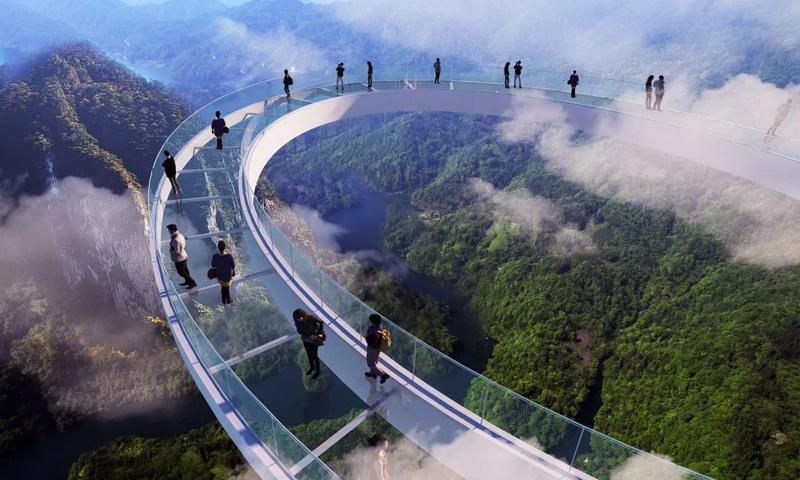 圖/清遠黃騰峽天門懸廊玻璃橋(大球拍)