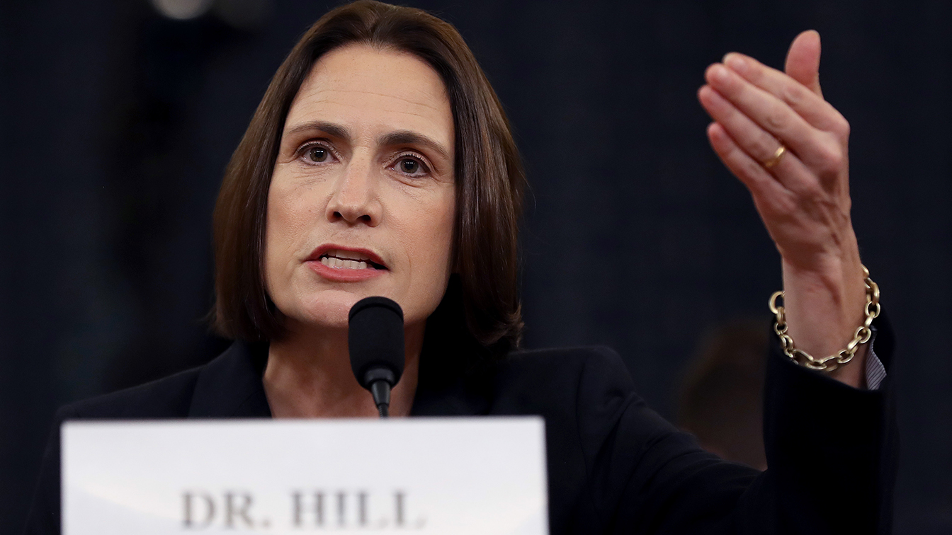Fiona Hill, the National Security Council's former senior director for Europe and Russia testifies before the House Intelligence Committee in the Longworth House Office Building on Capitol Hill November 21, 2019 in Washington, DC. (Photo: Chip Somodevilla/Getty Images)