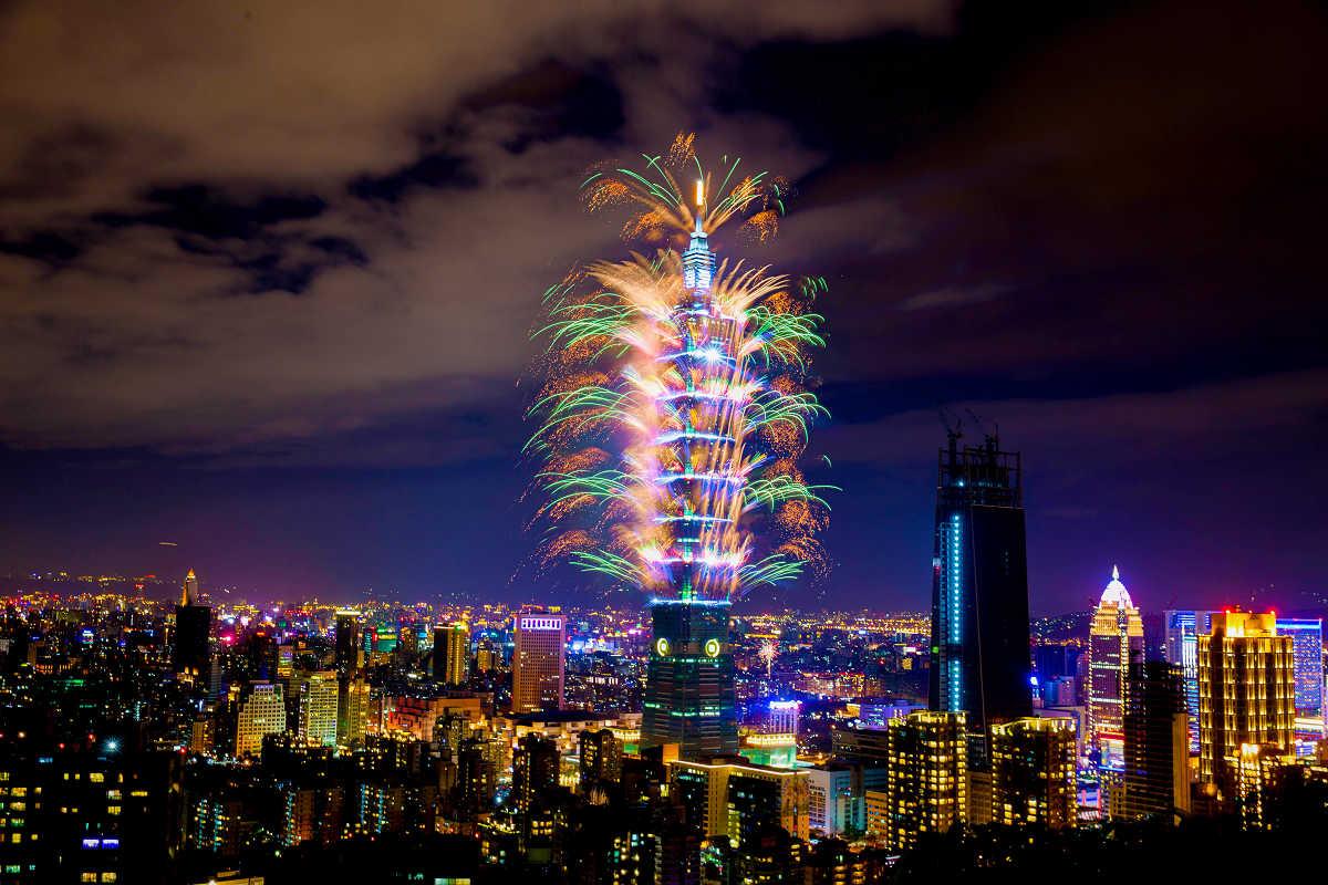 101跨年的炫麗煙火(圖片來源:台北101)