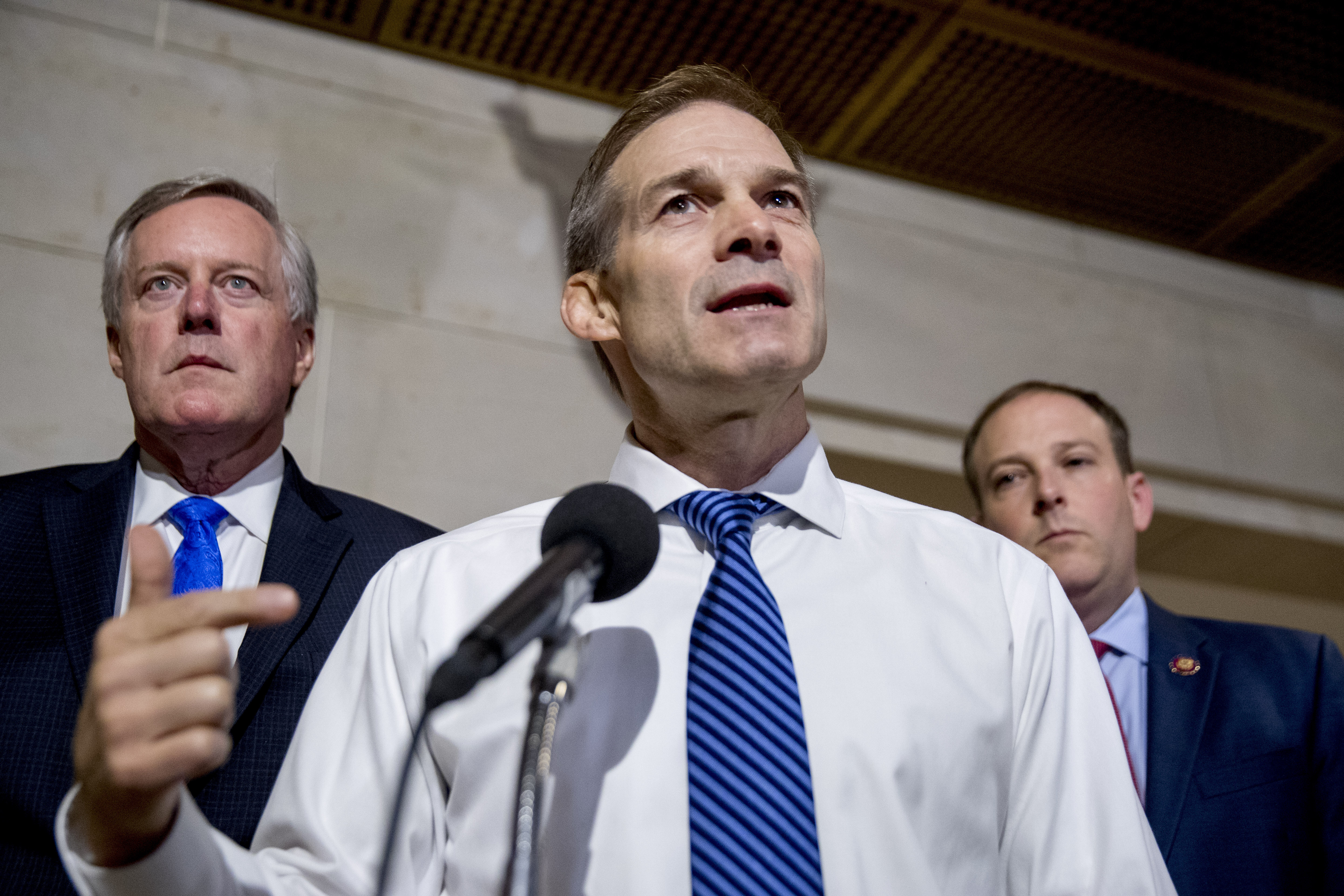 Rep. Mark Meadows, R-N.C., Rep. Jim Jordan, R-Ohio, and Rep. Lee Zeldin, R-N.Y., hold a press conference on Capitol Hill on Oct. 15 while Deputy Assistant Secretary of State George Kent testifies behind closed doors in the House impeachment inquiry into President Trump. (Photo: Andrew Harnik/AP)