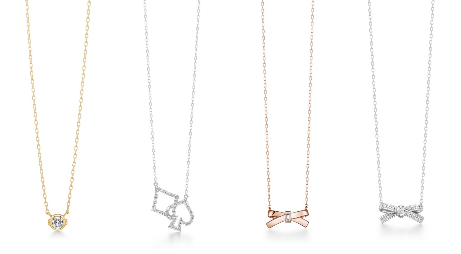 AHKAK lierre heart項鍊NT.12,700、AHKAK march diamond (方塊與黑桃)項鍊NT.43,600、AHKAK petit ruban rose項鍊NT.16,400、AHKAK ruban diamond項鍊NT.33,500