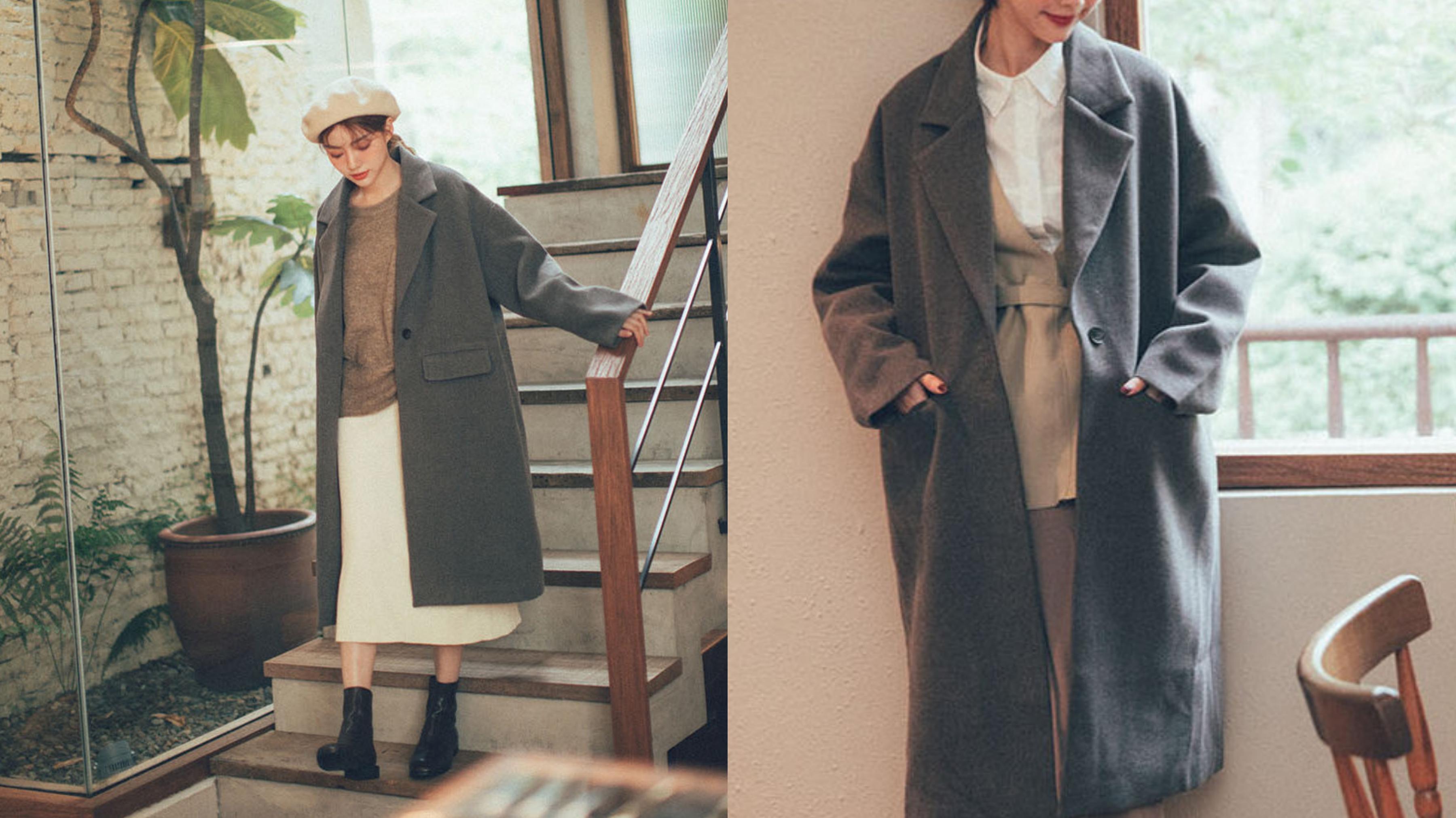 毛呢感的大衣,內層有舖棉設計更加保暖,很百搭的款式