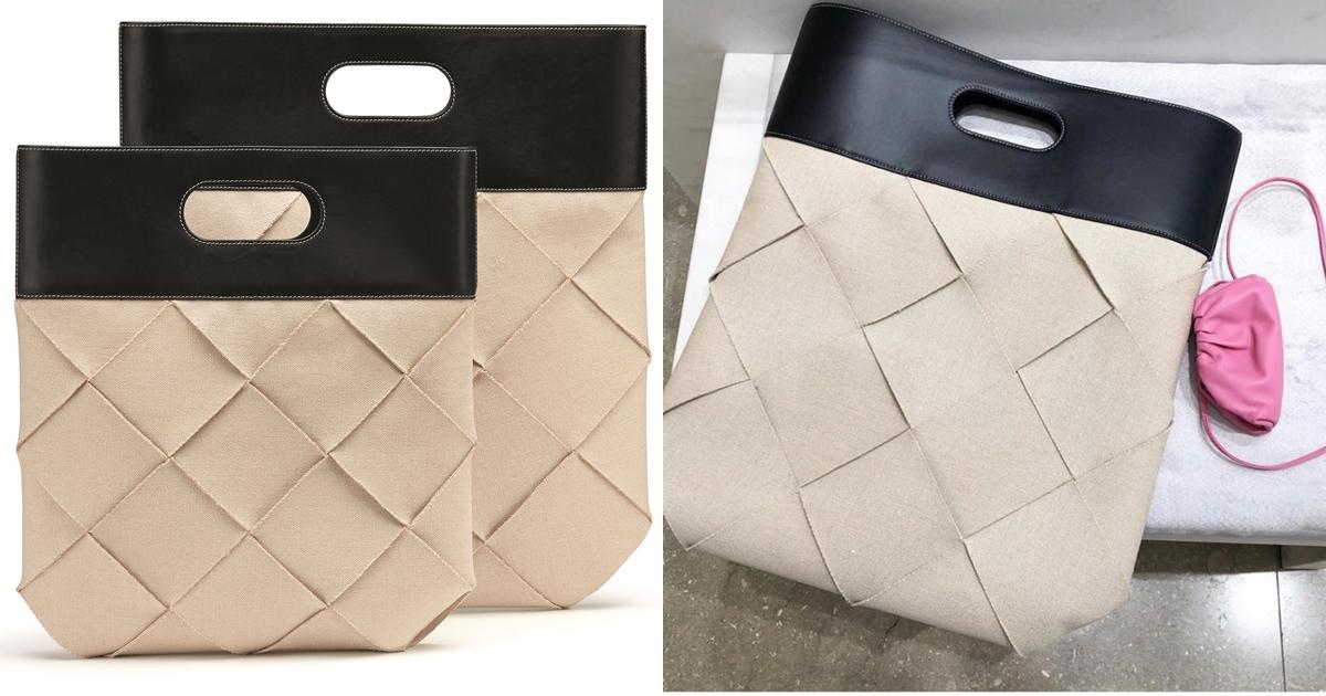 這款造型俐落的SLIP托特包,採用大型編織設計,打造出時尚幾合感外型