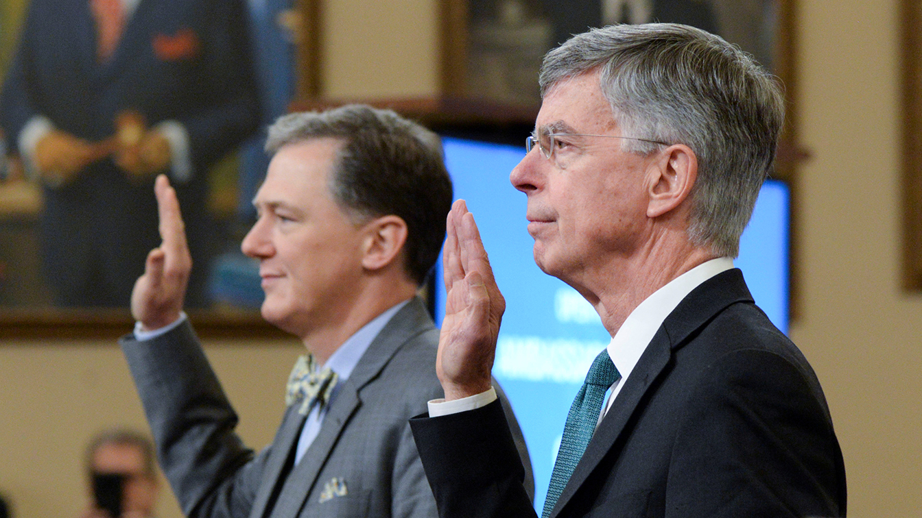 George Kent, the deputy assistant secretary of state for European and Eurasian affairs and William Taylor, the top U.S. diplomat in Ukraine, are sworn in during a House Intelligence Committee public hearing in the impeachment inquiry against U.S. President Donald Trump on Capitol Hill in Washington, U.S., November 13, 2019.  (Photo: Erin Scott/Reuters)