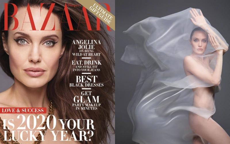 安潔莉娜裘莉全裸登上美版《BAZAAR》封面人物。(截自微博)