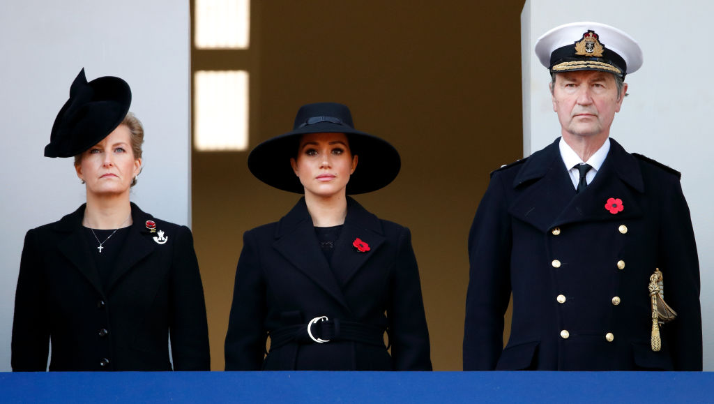 The Duchess of Sussex was positioned next to the Countess of Wessex and Princess Anne's husband [Photo: Getty]