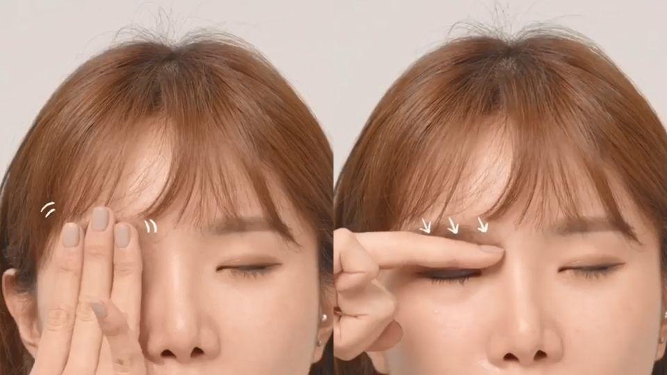 找出眼球與眉骨間的凹陷處,那個部位就是眼窩的最高點