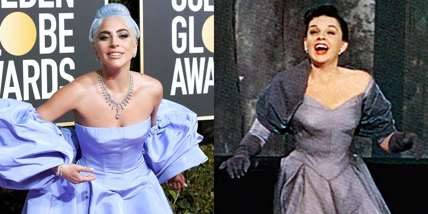 芮妮齊薇格詮釋傳奇女星茱蒂嘉蘭,被視為今年最堅強的奧斯卡影后人選之一女神卡卡(左)坦言是茱蒂嘉蘭(右)的粉絲,連參加金球獎頒獎典禮的服裝都向她致敬