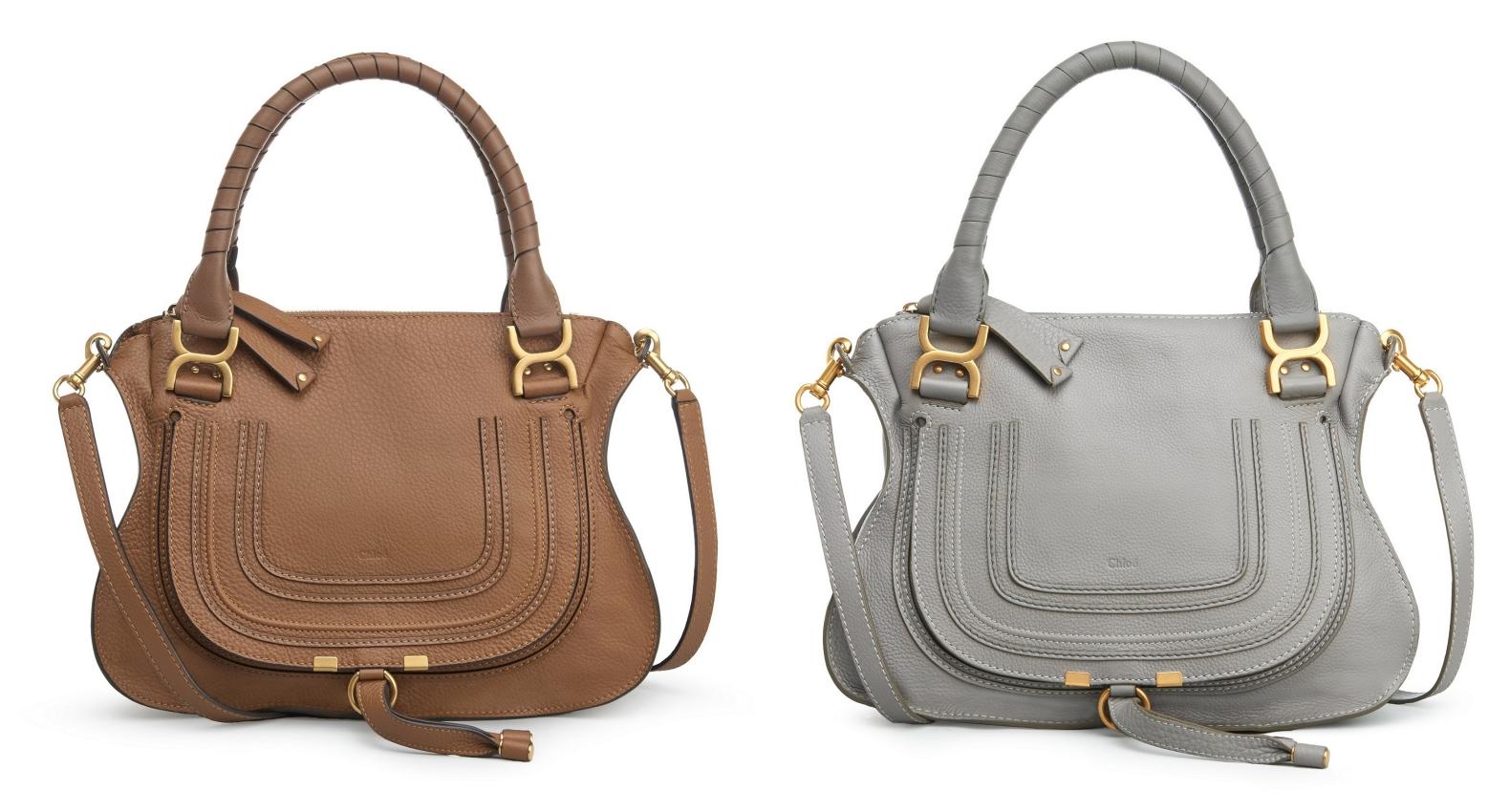 【經典款】Chloé Marcie栗棕色肩背手提包 NT.66,700、【經典款】Chloé Marcie灰色肩背手提包 NT.66,700