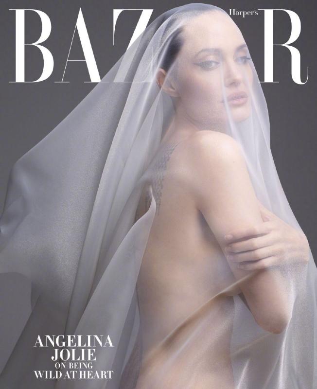 安潔莉娜裘莉只用一片透紗蓋住,全裸登上封面。(截自微博)