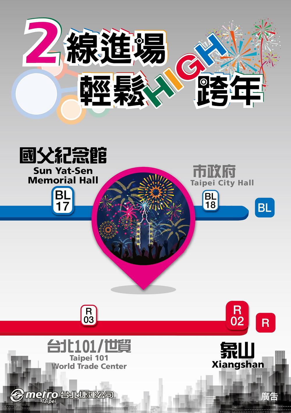 捷運跨年_2線進場(圖片來源:台北捷運公司)