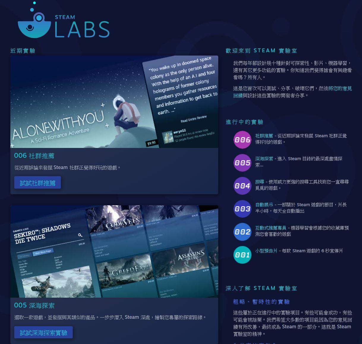 Steam Labs能讓玩家更直接用自身使用體驗來參與設計。(圖源:Steam)