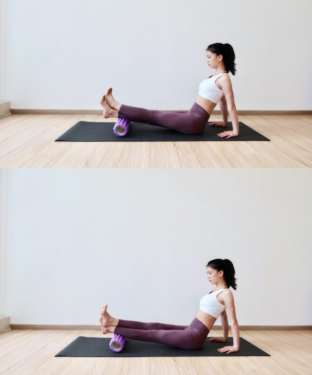 想要瘦小腿可以用瑜伽柱滾壓放鬆,前後左右各個方向滾壓