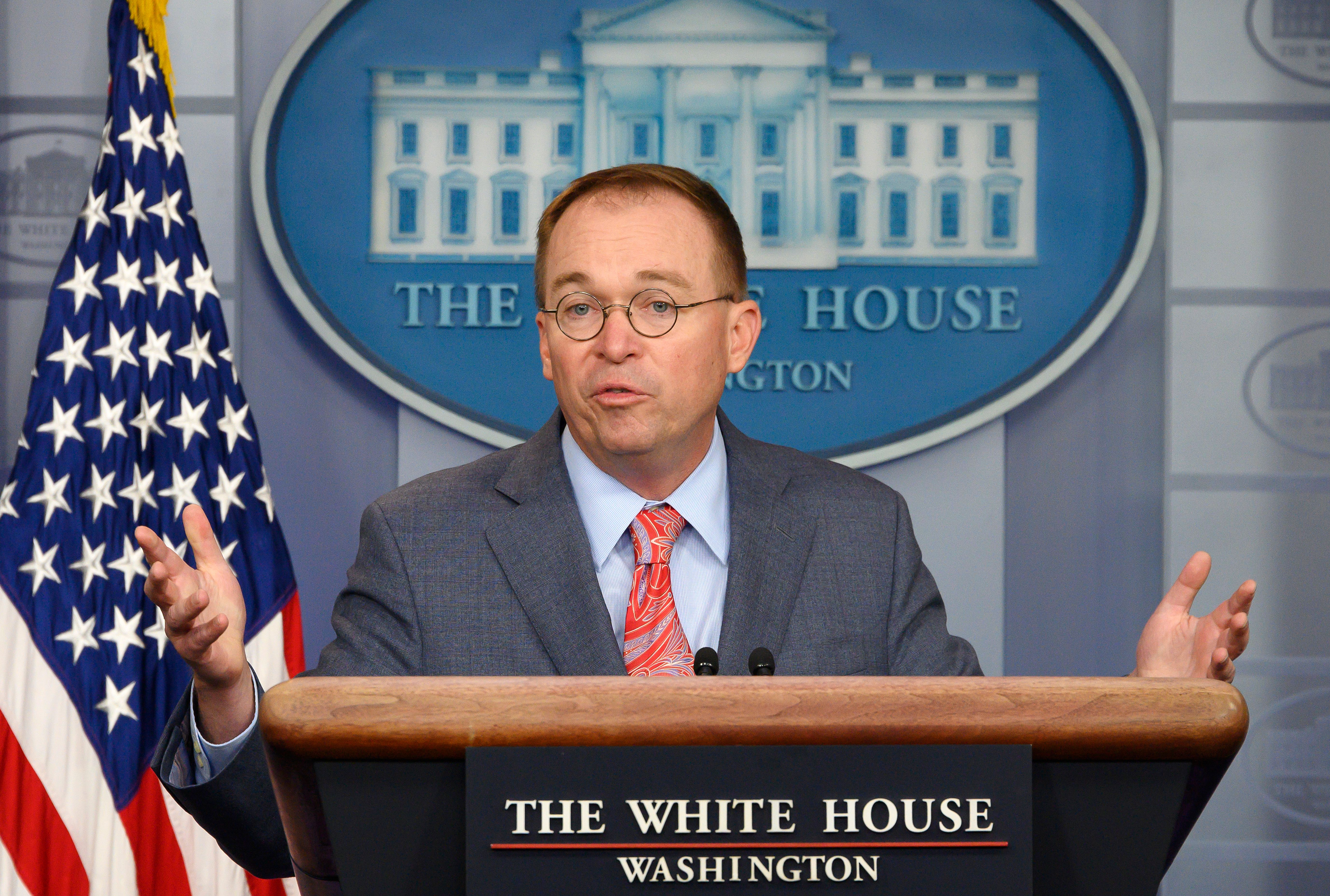 White House Acting Chief of Staff Mick Mulvaney speaks during a press briefing at the White House in Washington, DC, on October 17, 2019. (Photo: Jim Watson/AFP via Getty Images)