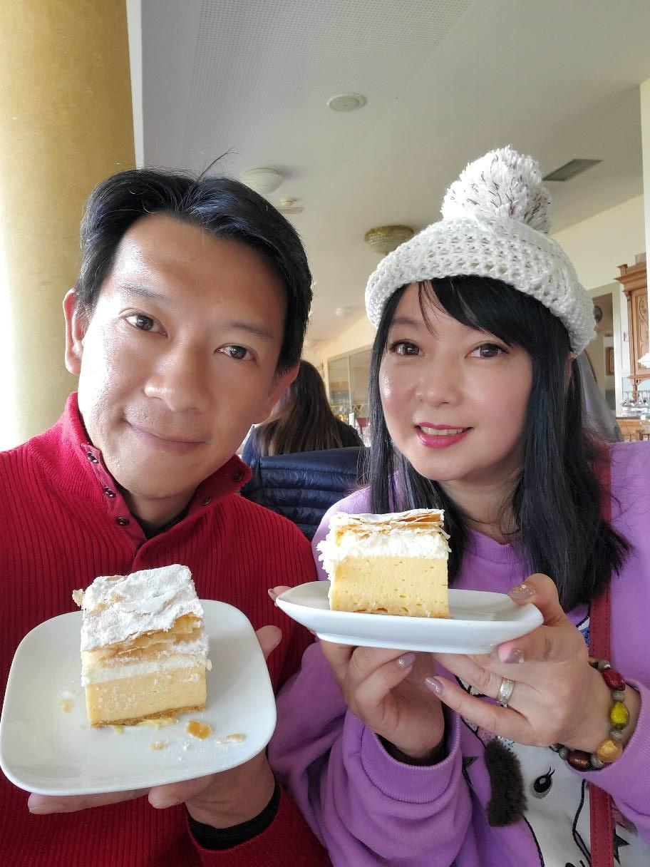 ▲「布萊德」蛋糕深受谷懷萱的喜愛,口感好、甜度適中;布拉德湖湖中小島的教堂,傳說拉動鐘聲就會幸福。