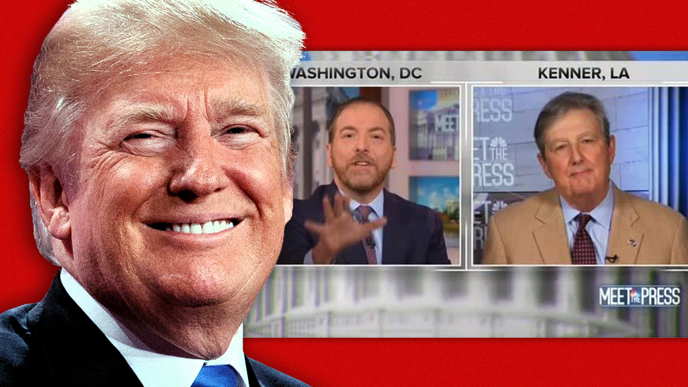 President Donald Trump; and, Chuck Todd interviews Sen. John Kennedy on 'Meet the Press' on  Sunday, Dec. 1, 2019. (Photo illustration: Yahoo News; photos: AP, Screengrab via NBC)