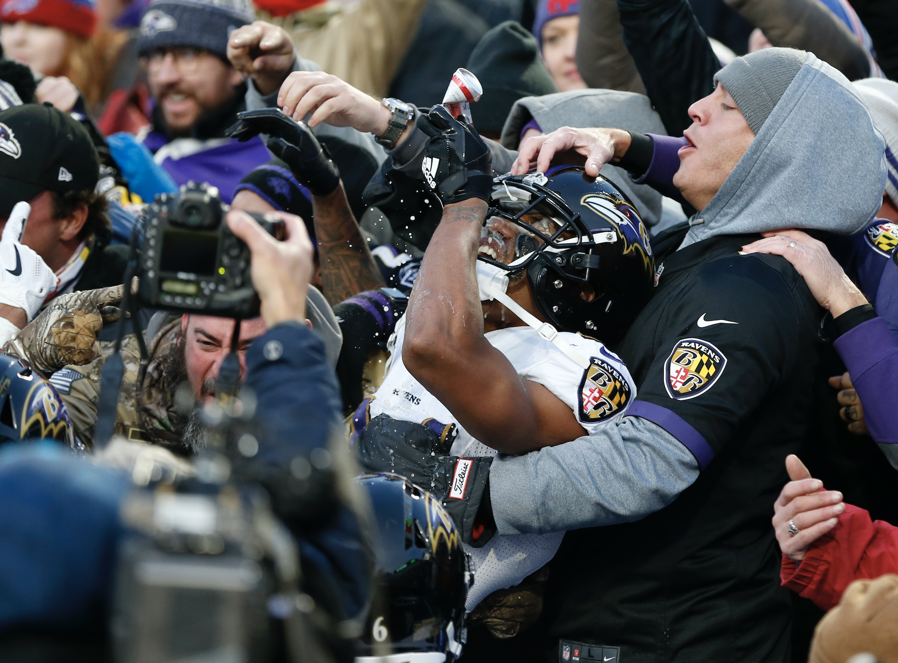 Marcus Peters #24 of the Baltimore Ravens jumps in the crowd to celebrate breaking up a pass during the fourth quarter against the Buffalo Bills at New Era Field on December 8, 2019 in Orchard Park, New York. (Photo: Timothy T Ludwig/Getty Images)