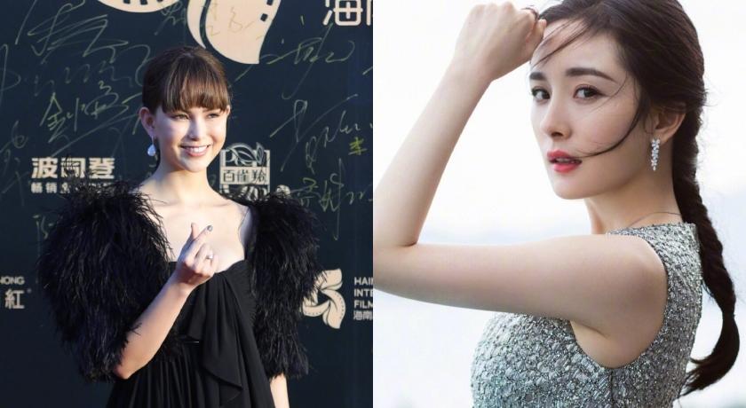 昆凌與楊冪出席海南島國際電影節紅毯。(截自微博)