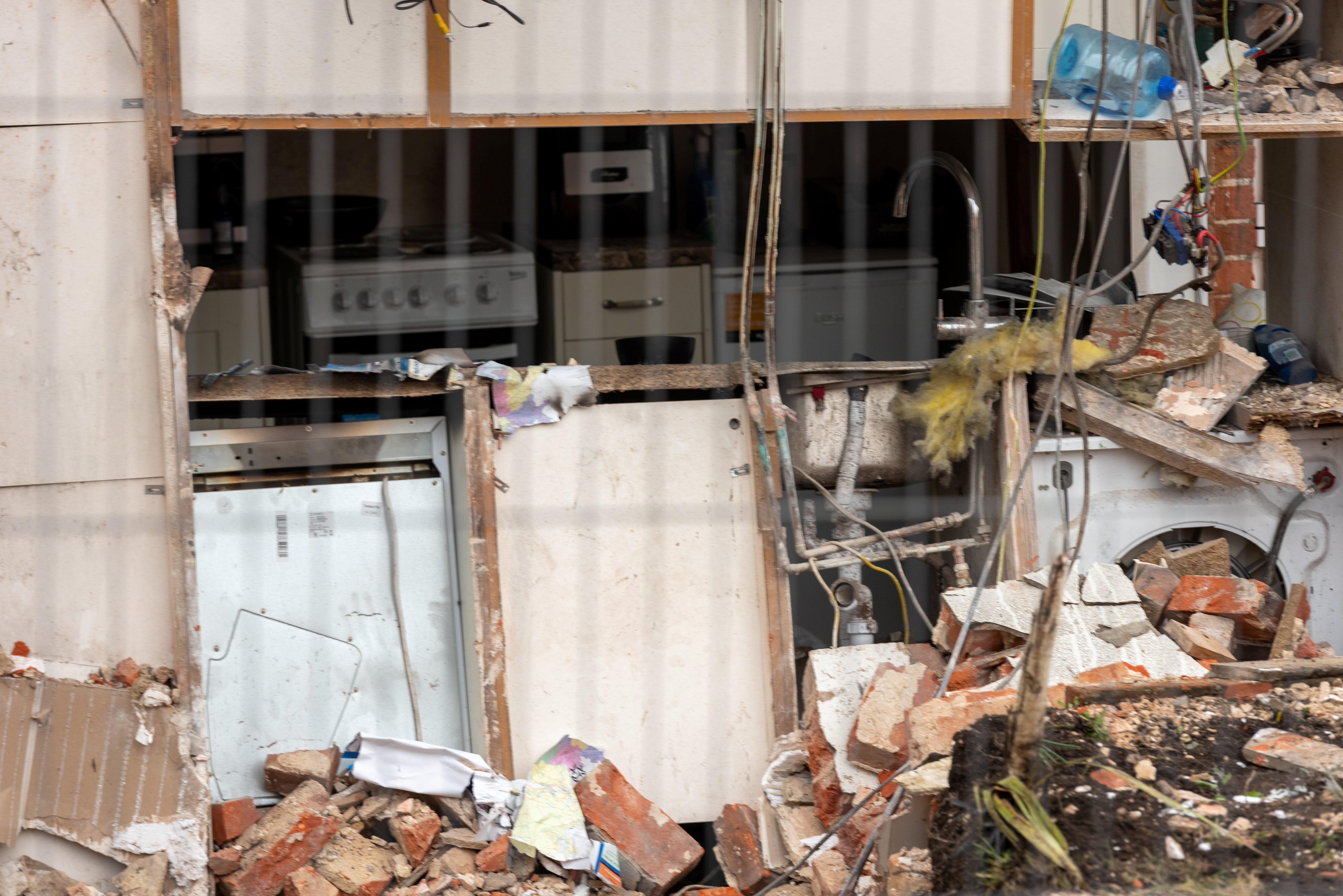 The house explosion in Kessingland, near Lowestoft, Suffolk left the entire property exposed. (SWNS)