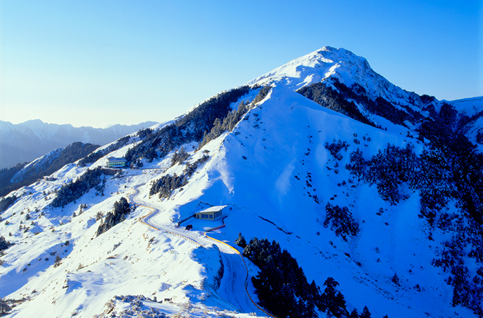 合歡山是高人氣賞雪勝地,不論開車或走路都能飽覽壯闊、白綠交織的山林景致。圖/台灣觀光資訊網