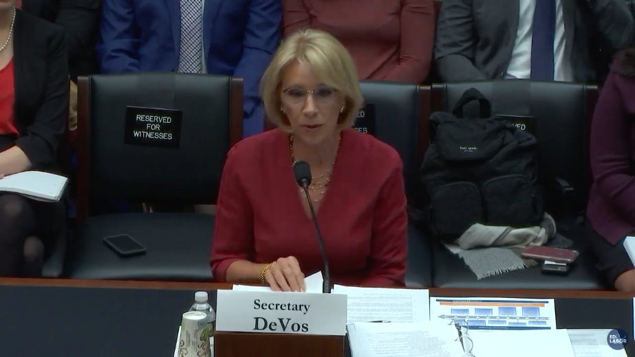 Education Secretary at the House Committee on Education and Labor on December 12, 2019. (Screenshot: Yahoo Finance)