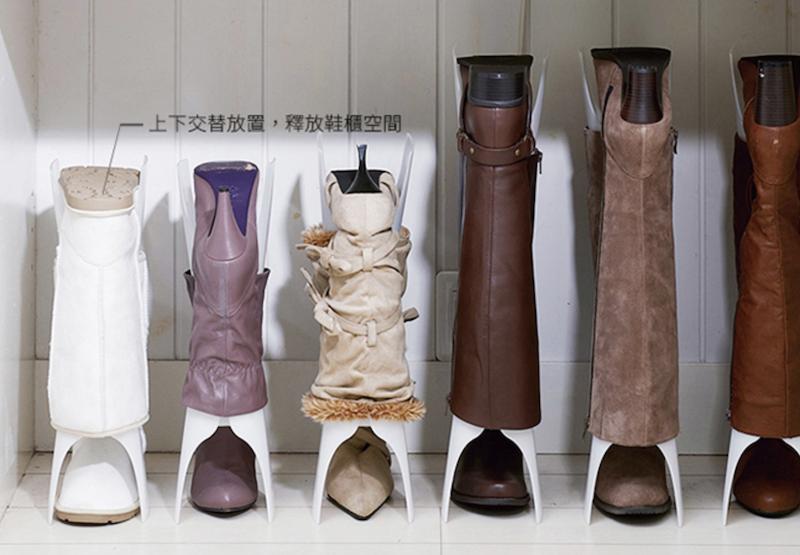▲可上下交替放置的收納支架,不僅可避免長靴變形,也可節省空間。(圖片來源:Yahoo購物中心)