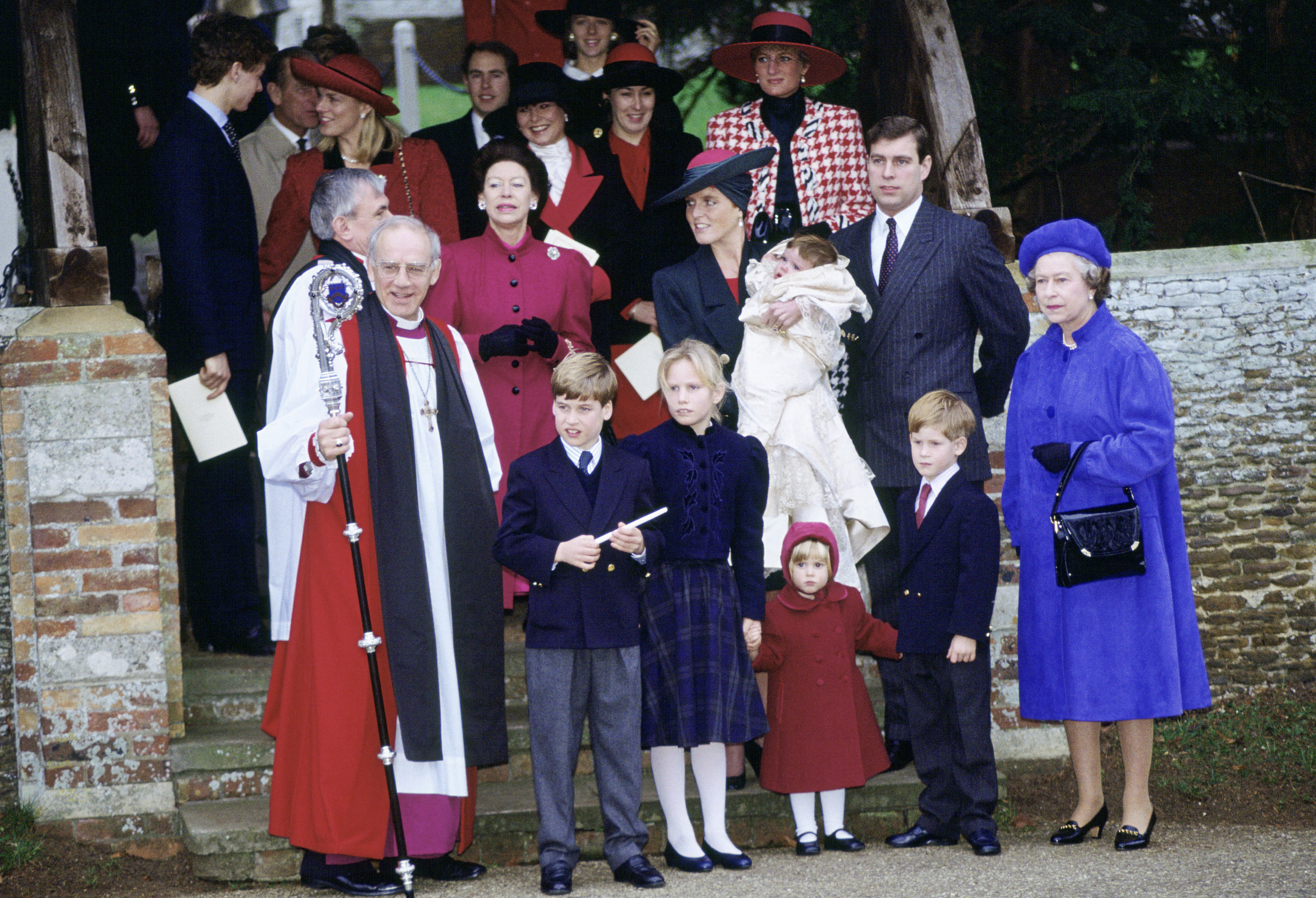 The Royal Family gather at Sandringham for Princess Eugenie's christening in December 1990 [Photo: Getty]