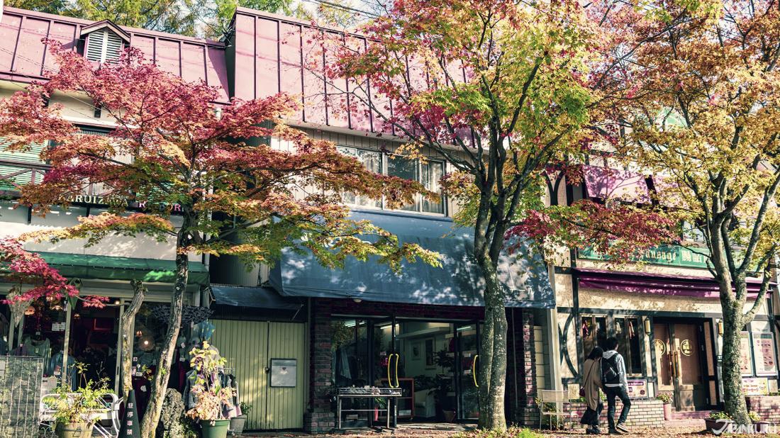 輕井澤歐風的建築搭上轉黃轉紅的秋葉,更添詩意。
