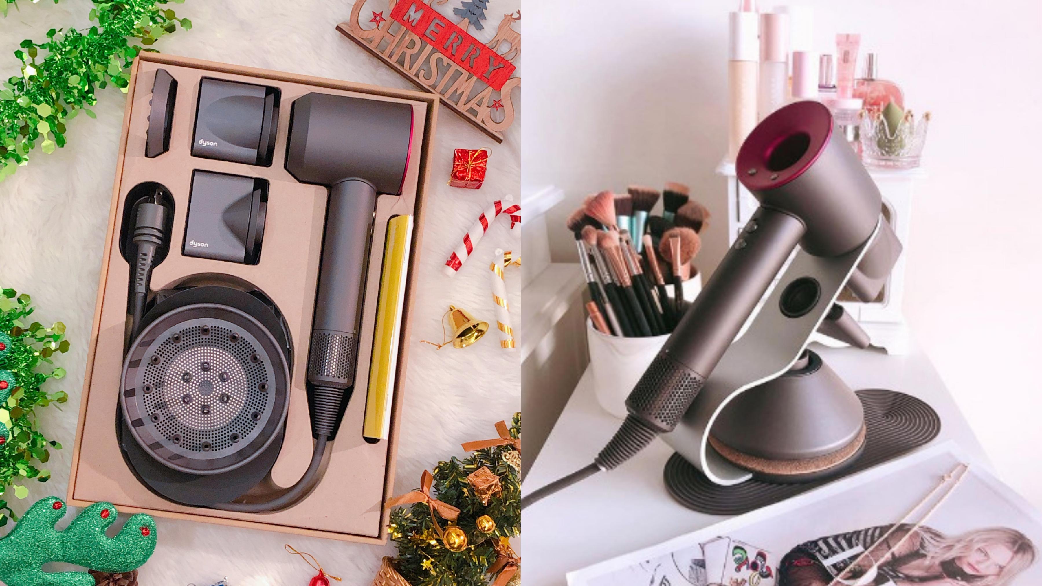 【雙12這樣買】史上最豪華聖誕禮物開箱直擊:新一代 Dyson吹風機,高顏值又實用,搭配專用底座,整齊收納超大心!