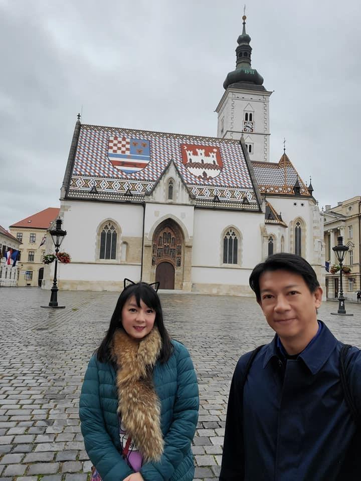 ▲難得浮生半日遊,徐展元和谷懷萱前進克羅埃西亞首都,欣賞著名景點,聖馬可教堂的馬賽克屋頂。